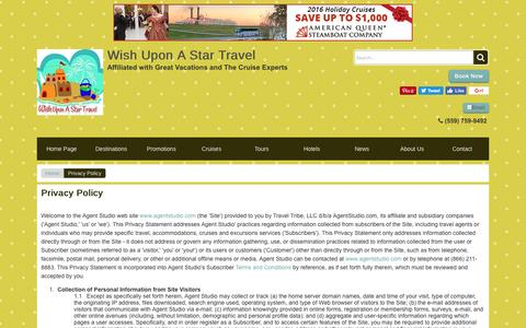 Screenshot of Privacy Page wishuponastartravel.com - Privacy Policy | Wish Upon A Star Travel - captured Dec. 14, 2016