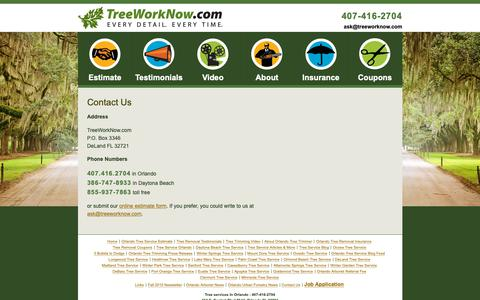 Screenshot of Contact Page treeworknow.com - Contact Us | TreeWorkNow.com 14566 Cheever St, Orlando, FL 32828 | 407-416-2704 - captured Nov. 18, 2018