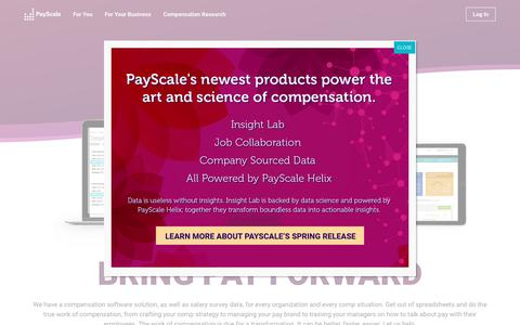 Screenshot of Products Page payscale.com - Compensation Software For Every Comp Need | PayScale - captured June 1, 2018