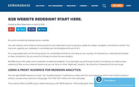 Screenshot of Blog demandbase.com - B2B Website Redesign? Start here. | Account-Based Marketing – Demandbase - captured Nov. 6, 2019