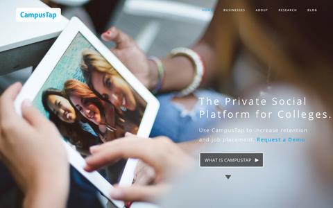 Screenshot of Home Page thecampustap.com - CampusTap|The Private Social PlatformCampusTap - captured Jan. 14, 2015