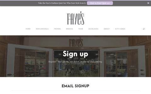 Screenshot of Signup Page fayes123.com - Women's Designer Clothes Milwaukee | Email Sign-Up - captured Oct. 10, 2018