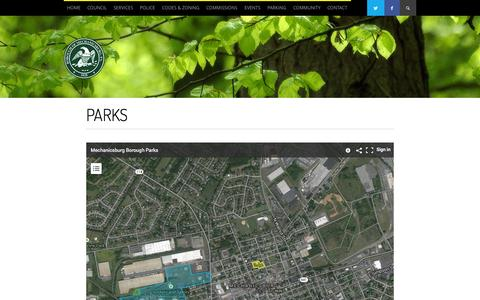 Screenshot of Locations Page mechanicsburgborough.org - Parks - Borough of Mechanicsburg - captured Oct. 5, 2014