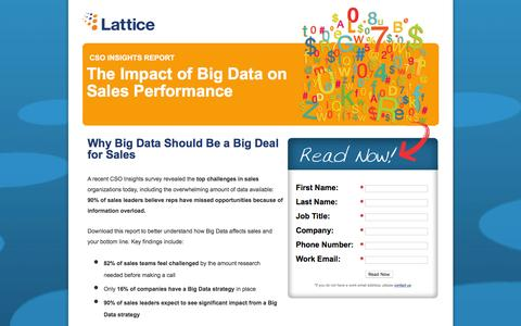 Screenshot of Landing Page lattice-engines.com - CSO Insights Report:  2012 Impact of Big Data on Sales Performance:  Why Big Data Should Be a Big Deal for Sales - captured Feb. 26, 2016