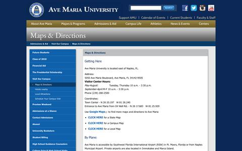 Screenshot of Maps & Directions Page avemaria.edu - Ave Maria University > Admissions & Aid > Visit Our Campus > Maps & Directions - captured Sept. 24, 2014