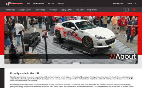 Screenshot of About Page raceramps.com - About - Race Ramps - captured Oct. 11, 2017