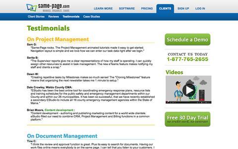 Screenshot of Testimonials Page same-page.com - Testimonials for Calendar Online Project and Document Management Software | Same-Page.com - captured Oct. 10, 2014