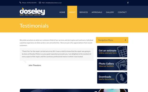 Screenshot of Testimonials Page doseleymotors.co.uk - Testimonials · Doseley Motors - Body and Paint Centre Telford - captured June 5, 2017