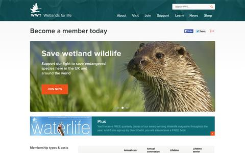 Screenshot of Signup Page wwt.org.uk - WWT - Wetlands for life - Become a member today - captured Sept. 25, 2014
