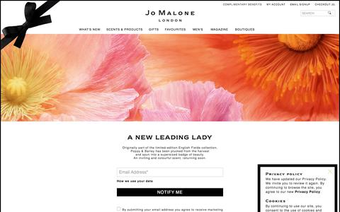 Screenshot of Signup Page jomalone.co.uk - Poppy & Barley Coming Soon Page | Jo Malone London - captured Aug. 13, 2019