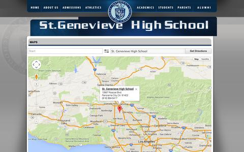 Screenshot of Maps & Directions Page valiantspirit.com - St. Genevieve High School - captured Oct. 6, 2014