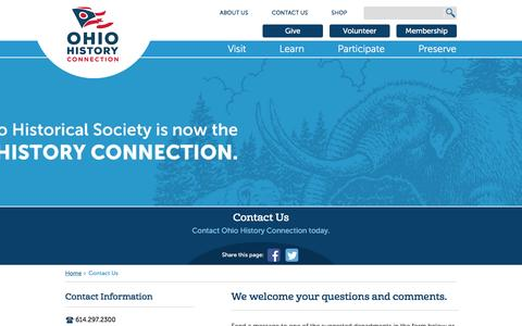 Screenshot of Contact Page ohiohistory.org - Contact Us   Ohio History Connection   Ohio History Connection - captured Sept. 21, 2016
