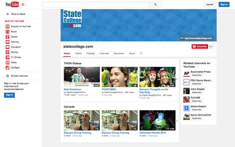 Screenshot of YouTube Page youtube.com - statecollege.com  - YouTube - captured Nov. 3, 2014