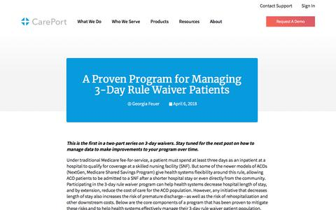 Screenshot of Blog careporthealth.com - A Proven Program for Managing 3-Day Rule Waiver Patients - Careport Health - captured Feb. 20, 2020