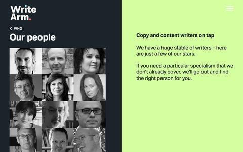 Screenshot of Team Page writearm.co.uk - Content and copy writers | Write Arm - captured Dec. 18, 2016