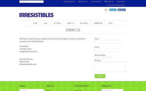 Screenshot of Contact Page irresistibles.com - Contact Us | Irresistibles - captured May 11, 2017