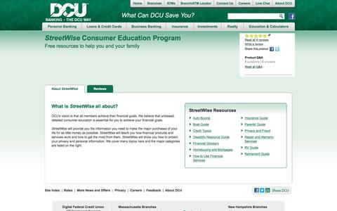 StreetWise Consumer Education Program | DCU | MA | NH
