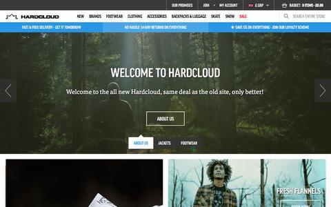 Screenshot of Home Page hardcloud.com - Buy streetwear, surf & skate clothing, music fashion, skate shoes online    hardcloud.com - captured Oct. 16, 2015