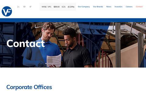 Screenshot of Contact Page vfc.com - Contact :: VF Corporation (VFC) - captured Sept. 30, 2019
