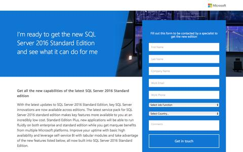 Screenshot of Landing Page microsoft.com - Microsoft SQL Server Standard Edition - captured Nov. 18, 2016