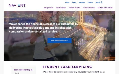 Screenshot of Home Page navient.com - Navient | Asset Management, Consumer Lending, and Business Processing Solutions - captured Oct. 10, 2018