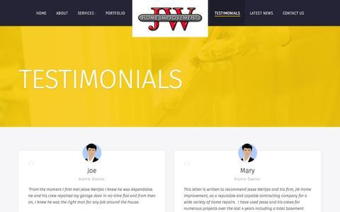 Screenshot of Testimonials Page jwimprovements.com - Testimonials | JW Improvements LLC - captured Nov. 3, 2014
