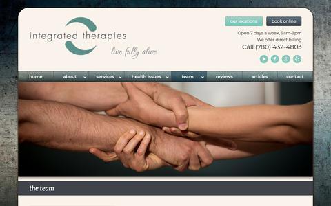 Screenshot of Team Page integratedtherapies.ca - Integrated Therapies Team of Massage Therapists in Edmonton - captured Nov. 22, 2018