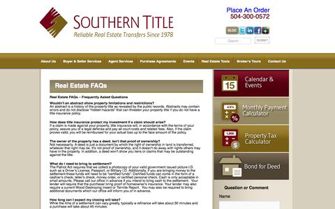 Screenshot of FAQ Page southerntitleonline.com - Real Estate FAQ - Frequently Asked Questions | Southern Title - captured Oct. 6, 2014