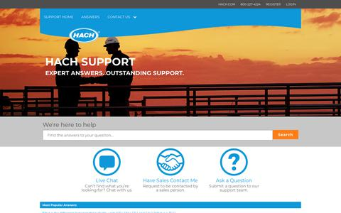 Screenshot of Support Page hach.com - Support Home Page - captured Feb. 10, 2018