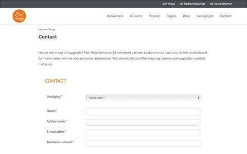 Screenshot of Contact Page megategel.nl - Plan een adviesgesprek in, stel een vraag of stuur een bericht | Mega - captured Oct. 17, 2018