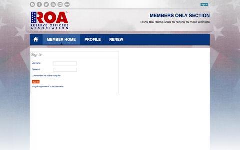 Screenshot of Login Page roa.org - Sign In - captured Feb. 25, 2016