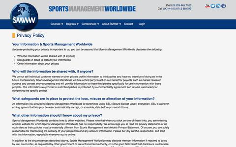 Screenshot of Privacy Page sportsmanagementworldwide.com - Privacy Policy | Sports Management Worldwide - captured Aug. 21, 2018