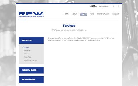 Screenshot of Services Page rpwinc.net - Reliable Plating Works     Services - captured Oct. 26, 2014