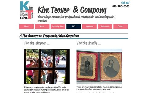 Screenshot of FAQ Page kimteaver.com - Upcoming Estate Sale and Moving Sales in the Twin Cities - captured Nov. 27, 2016