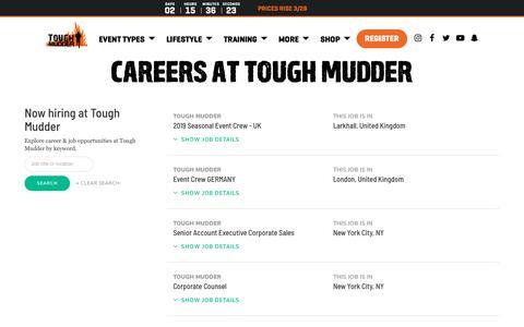 Screenshot of Jobs Page toughmudder.com - Careers | Tough Mudder - captured March 26, 2019