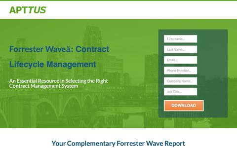 Screenshot of Landing Page apttus.com - Forrester Wave: Contract Lifecycle Management - captured Sept. 28, 2017