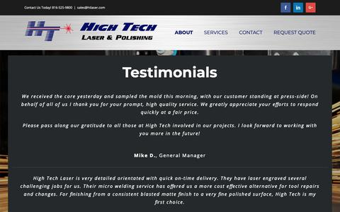 Screenshot of Testimonials Page htlaser.com - Testimonials - HT Laser - captured Sept. 28, 2018