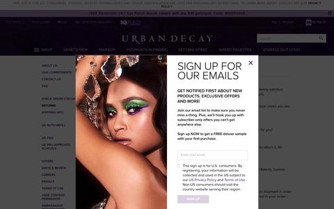 Screenshot of Support Page urbandecay.com - Returns | Urban Decay - captured June 6, 2019