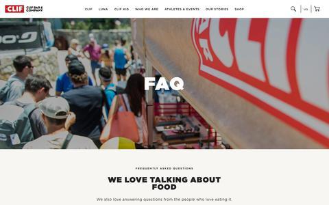 Screenshot of FAQ Page clifbar.com - CLIF: FAQ - captured July 12, 2018