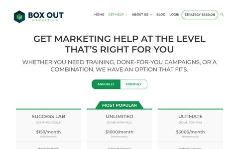 Screenshot of Pricing Page boxoutmarketing.com - Join Now | Infusionsoft Implementation, Training, Support - Box Out Marketing - captured Nov. 20, 2019