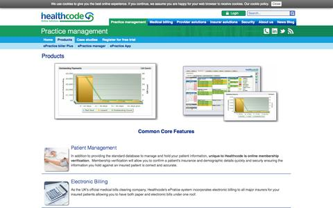 Screenshot of Products Page healthcode.co.uk - Products | Practice management Healthcode secure online health care systems - captured Nov. 1, 2014