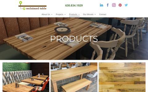 Screenshot of Products Page reclaimedtable.com - Products - captured Sept. 21, 2018