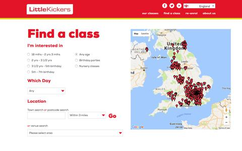 Screenshot of Signup Page littlekickers.co.uk - Find Little Kickers® classes and venues near you for pre school and junior football coaching - captured June 29, 2017