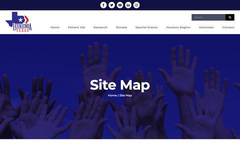 Screenshot of Site Map Page leukemiatexas.org - Site Map – Leukemia Texas - captured July 18, 2018