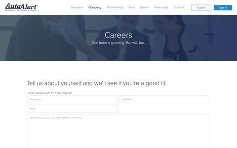 Screenshot of Jobs Page autoalert.com - Career Opportunities at AutoAlert | Downtown Kansas City Jobs - captured Oct. 5, 2019