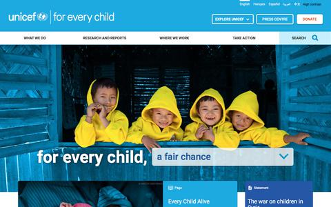 Screenshot of Home Page unicef.org - Home page | UNICEF - captured Feb. 22, 2018