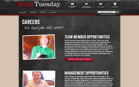 Screenshot of Jobs Page rubytuesday.com - Careers - captured Aug. 17, 2016