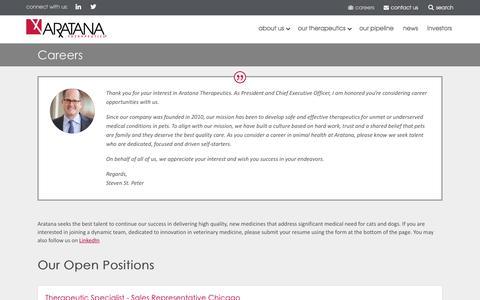 Screenshot of Jobs Page aratana.com - Jobs at Aratana   Animal Health Careers - captured Sept. 24, 2018
