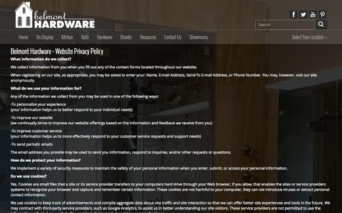 Screenshot of Privacy Page belmonthardware.com - Belmont Hardware Privacy Policy - captured Sept. 30, 2014