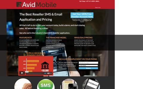 Screenshot of Landing Page avidmobile.com - Resell SMS, SMS Wholesale mobile marketing application, Sms marketing, sms service, mobile marketing application, text message marketing, sms marketing software, sms application, private label reseller, private label application, mobile marketing bus - captured Oct. 21, 2016